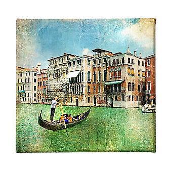 Pintura multicolor de Venecia en poliéster, madera, L60xP3xA60 cm