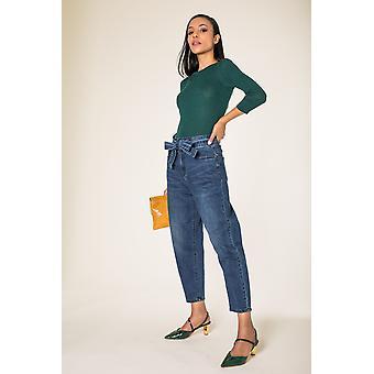 Women&s Mom Jeans High-Waist Pants Beskurna Wide Pants Five Pocket Tie Belt