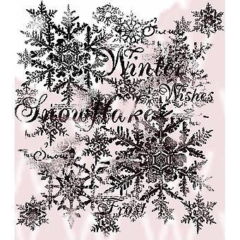 Copos de nieve woodware clear singles 4 en x 4 en sello