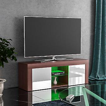 Eclipse 2 Door LED TV Unit Cabinet Stand High Gloss, Walnut & White