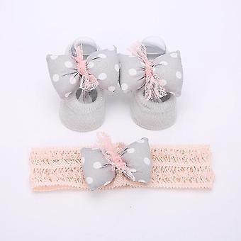 طفل حديث الولادة الرضع 3pcs / مجموعة شبشب الجوارب الكروشيه الشعر باند الملحقات