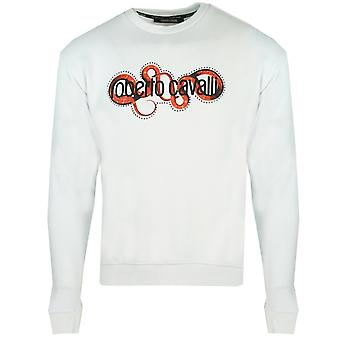 Roberto Cavalli Snake Wrapped Logo White Sweater