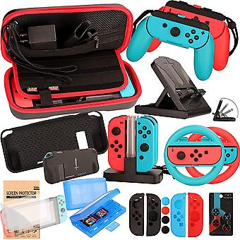Accessories Bundle for Nintendo Switch - Wheel Grip Caps Carrying Case Screen Protector for Nintendo
