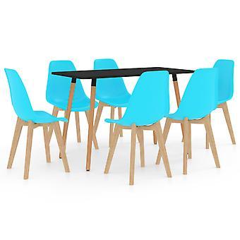 7 Piece Dining Set Blue