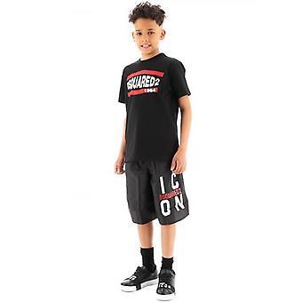 DSQUARED2 Kids Musta Logo ICON Ui lyhyeksi