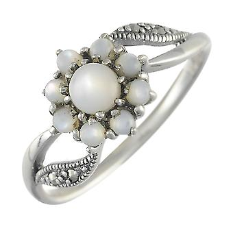 Floral Runde Perlmutt & Marcasite Cluster Ring in 925 Sterling Silber 214R481602925