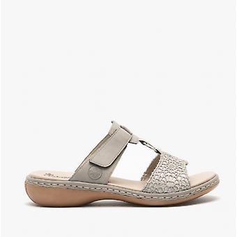 Rieker 65943 Ladies Mule Sandals Grey