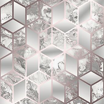 Elixir Cube Marble Wallpaper Rose Gold Muriva 166511