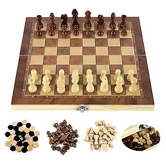 Foldable Wooden Chess Set Board Game