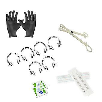 12-teiliges Ohrpiercing-Kit - enthält (6) 14g Ohrringe, (2) Nadeln, (1) Zangen, (2) Alkoholtücher und ein Paar Handschuhe