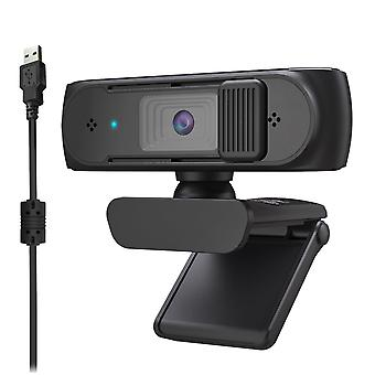 Webcam USB Webcam FHD PC with AF Light Correction and Dual Mics Teaching with Privacy Cover(1080p)
