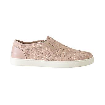 Vaaleanpunainen nahka pitsi slip on loafers