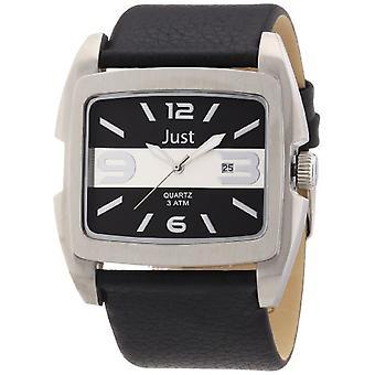 Just Watches 48-S3353-SL - Men's wristwatch, leather, color: black