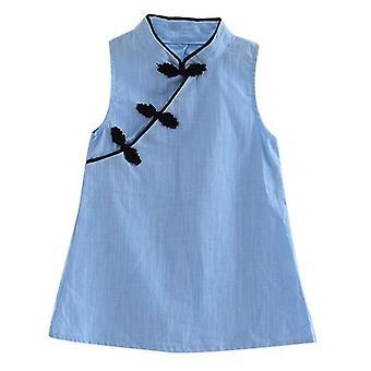 Blomma tryck bomull och linne blommig klänning baby flicka