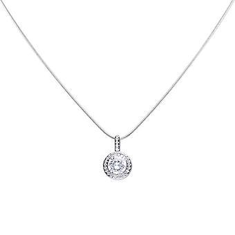 Diamonfire Womens 925 Sterling Silver Rhodium, Palladium &Platinum Plated Clear Cubic Zirconia Round Shaped Colgante with Pave Set Surround Collar de longitud 40cm - 45cm