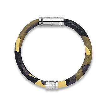 Tayroc camo leather bracelet with stainless steel clasp