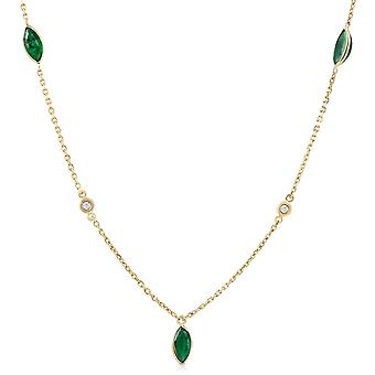 """3/4 Ct tdw Marquise Emerald & Diamond By The Yard 18"""" Necklace"""