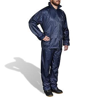 Roupa de chuva azul para homens de 2 peças com tamanho de capô XL
