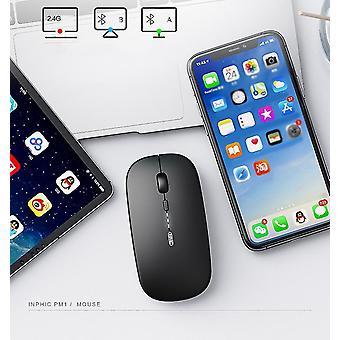 Bluetooth preto e mouse sem fio recarregável de 2,4ghz x4190