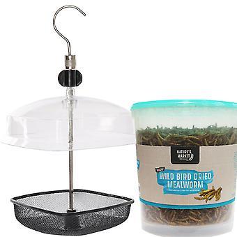 1 x einfach Direktmetall Mehlwurm Wild Bird Tray Feeder und Kunststoff-Dach mit 400g Wanne Mahlzeit Wurm Futter