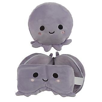 Relaxeazzz Plüsch Cutiemals Octopus Runde Reise Kissen & Augenmaske