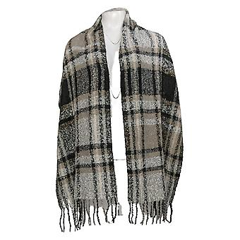 Susan Graver Yarn Dyed Boucle Fringed Oblong Scarf Gray A389043