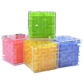 صفراء 3D متاهة السحر سرعة مكعب، شفافة ستة من جانب اللغز، المتداول لعبة الكرة az11212