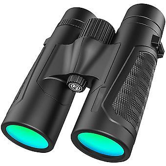 Jumelles professionnelles 12 x 42 en matériau de lentille couleur BAK4 HD Champ de vision extra large avec une clarté exceptionnelle pour l'observation des oiseaux, la randonnée, les voyages, la chasse et le sport, (noir)