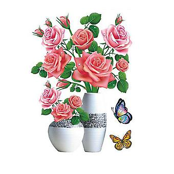 Diy Plant Vase 3d Stereo Stickers Self-adhesive Wall Refrigerator Decoration Waterproof
