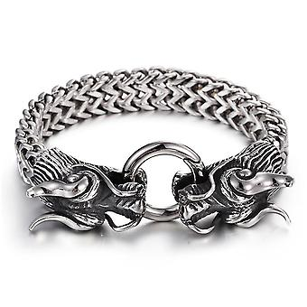 Cool Heavy Stainless Steel Silver Dragon Head Cuff Bangle Men's Bracelet