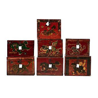 Feine asianliving Antique Chinese Box Handbemalt