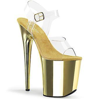Pleaser Kvinder's Sko FLAMINGO-808 Clr / Gold Chrome
