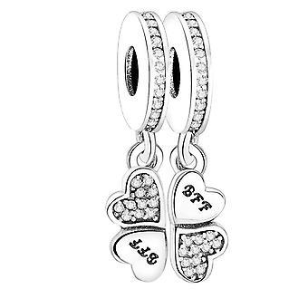 925 Ezüst medál karkötő Best Forever Friends Dangle Charm Gyöngyök DIY Nők | Varázsa