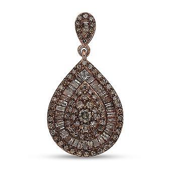 Champagne Diamant Hochzeit Cluster Anhänger Frauen Rose Vergoldet Silber 1.02ct