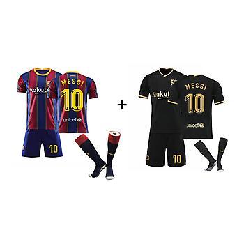 Camiseta Messi Barcelona, Camiseta camiseta-messi-10, camiseta de casa y visitante 2pcs (talla adulto)