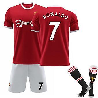 Red Devils Home No.7 Cristiano Ronaldo Maillot Maillot Costume de Football Avec Chaussettes