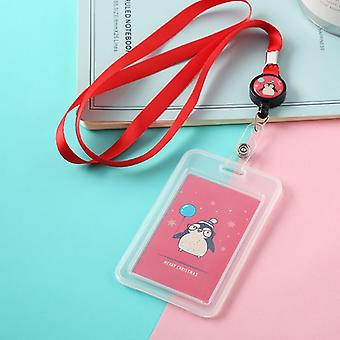 Cartoon Plastic Bus Id Card Holder Case Badge Retractable Reel Neck Strap Lanyard