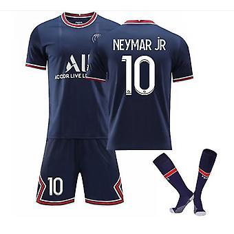 Neymar Jr 10# Jersey Home 2021-2022 Kausi Pariisi Jalkapallo T-paidat Jersey Set Lapsille/nuorille
