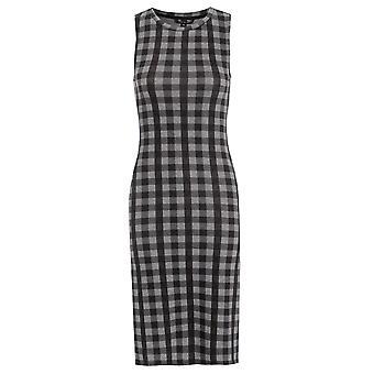 Sleeveless Check Midi Bodycon Dress