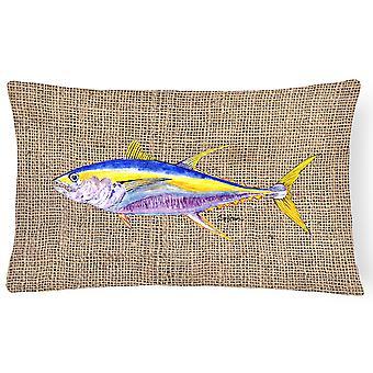 キャロラインズ宝物 8771PW1216 魚 - マグロ装飾的なキャンバス生地の枕
