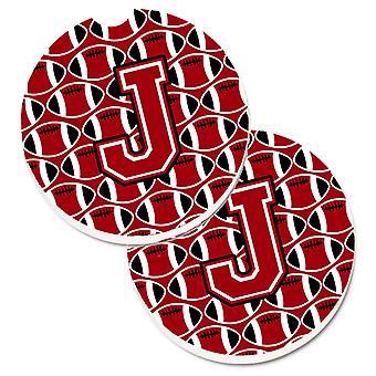 Kirjain J jalkapallo punainen, musta ja valkoinen joukko 2 kuppi haltija auton lasinaluset