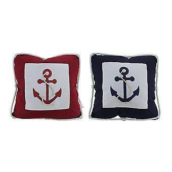 2 Piece Red and Blue Boat Anchor Throw Pillow Set w/ Rope Trim