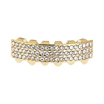 One size fits all - THREE LINE BOTTOM - gold bling Grillz