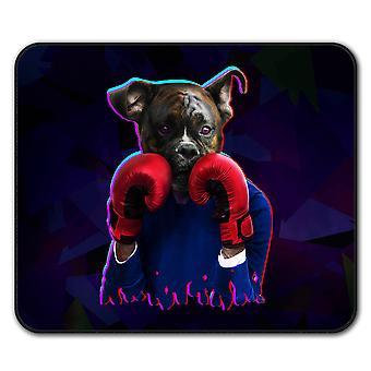 Boxer eläinten hauska koira liukumaton hiirimatto Pad 24 cm x 20 cm | Wellcoda