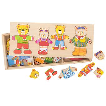 Bigjigs Toys Wooden Bear Family Dress-Up Jigsaw Puzzle Mix Match