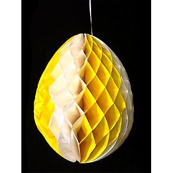 Decorazione dell'uovo giallo & bianco tessuto