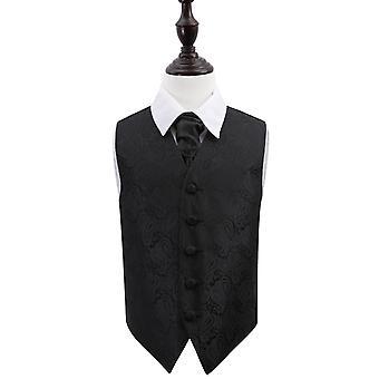 Svart Paisley bryllup vest & Cravat sett for gutter