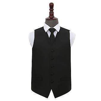 Black Solid Check Wedding Waistcoat & Tie Set