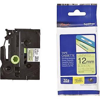 Merking tape (Hei-vis) bror TZe, TZ TZe-C31 Tape farge: gul skrift farge: svart 12 mm 5 m-Signal