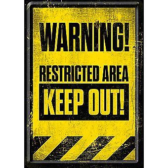 Предупреждение запретной зоне держать вне металла открытка / мини-знак